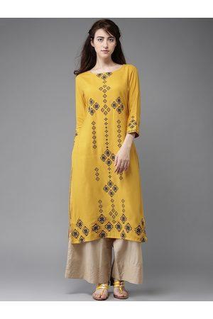 Moda Rapido Women Mustard Yellow Printed Straight Kurta