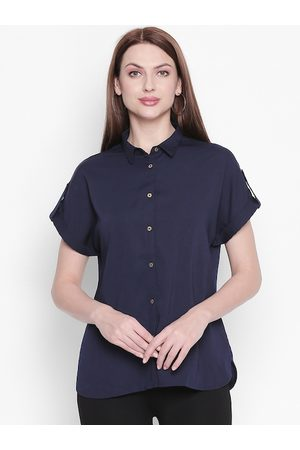 Pantaloons Women Navy Blue Solid Shirt Style Top