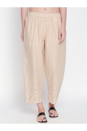 Pantaloons Women Beige Embroidered Straight Palazzos