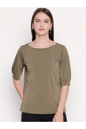Pantaloons Women Olive Brown Solid Top