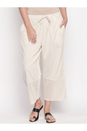 Pantaloons Women Off-White Regular Fit Self Design Parallel Trousers