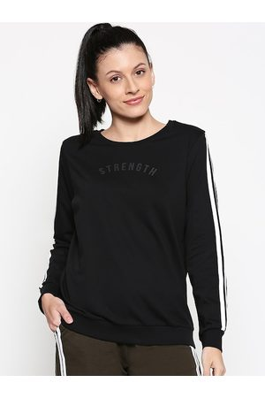 Pantaloons Women Black Solid Sweatshirt with Side Stripes