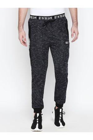 Pantaloons Men Grey Melange Solid Slim Fit Joggers