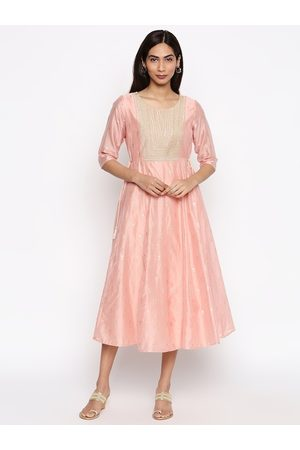 Pantaloons Women Peach-Coloured Self Design Fit and Flare Dress