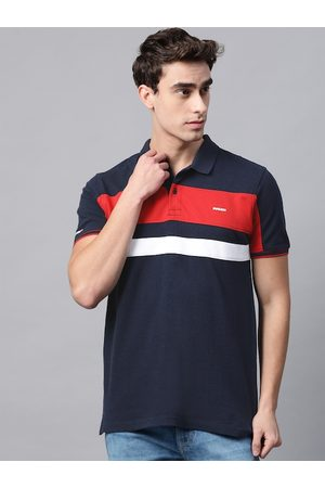 Ducati Men Navy Blue & Orange Striped Polo Collar Pure Cotton T-shirt