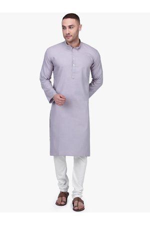 RAJUBHAI HARGOVINDAS Men Grey & White Solid Kurta with Pyjamas