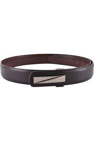 BuckleUp Men Brown & Black Solid Leather Belt
