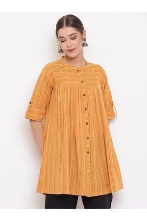 Janasya Women Mustard Solid A-Line Top