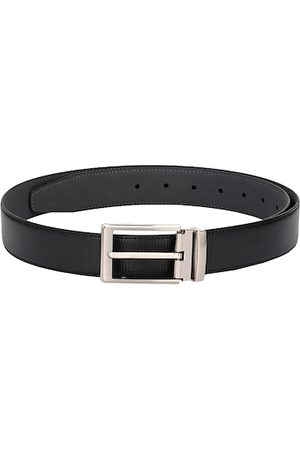 Calvadoss Men Black & Silver-Toned Textured Sustainable Belt