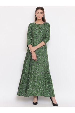 Janasya Women Green Floral Printed Maxi Dress