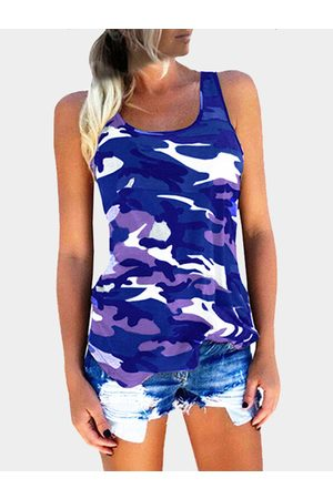 YOINS Camouflage Round Neck Y-back Tank Top In