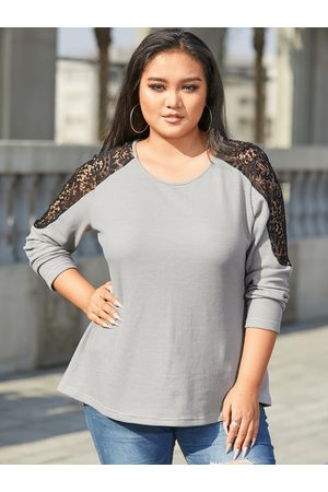 YOINS Plus Size Round Neck Lace Patchwork Waffle Knit Long Sleeve Knitwear