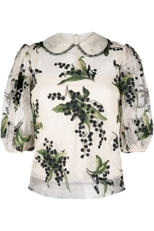 RED Valentino Floral-embroidered layered blouse