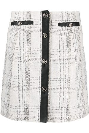 Salvatore Ferragamo Contrasting-trim check-print skirt