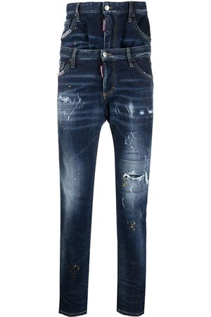 Dsquared2 Men Straight - Double-layer regular-fit distressed denim jeans