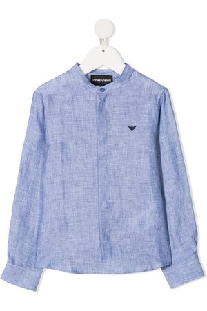 Emporio Armani Embroidered-logo buttoned shirt
