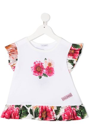 Dolce & Gabbana Girls Shirts - Floral-print ruffle-trim blouse