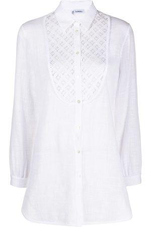 La Perla Embroidered bib buttoned shirt