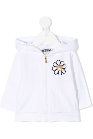 Moschino Hoodies - Embroidered zip-up hooded jacket