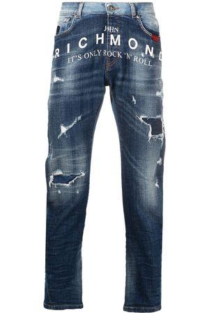 John Richmond Mick distressed two-tone jeans