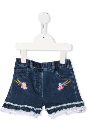 MONNALISA Embroidered-logo denim shorts