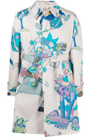 GCDS Men Trench Coats - X Rick & Morty graphic print trench coat