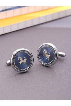 Yellow Chimes Jewellery Men Cufflinks - Navy Blue & Silver-Toned Round Cufflinks