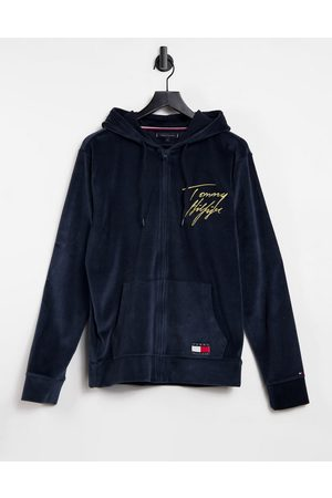 Tommy Hilfiger Lounge velour hoodie in with gold script logo