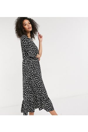 Missguided Smock midi dress with ruffle hem in