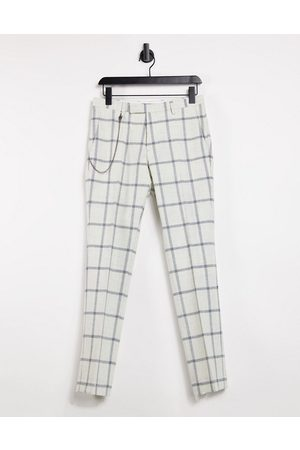 Twisted Tailor Skinny trousers with chain in windowpane check