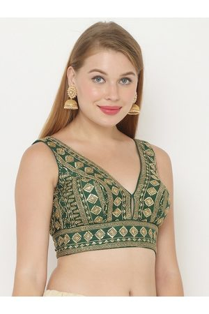 SALWAR STUDIO Women Green & Gold-Colour Embroidered Padded Saree Blouse