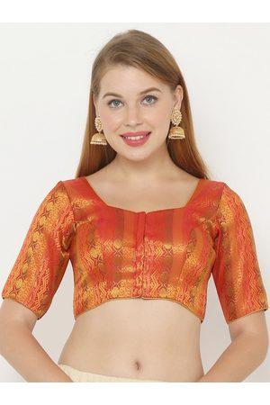 SALWAR STUDIO Women Red Printed Padded Jacquard Saree Blouse
