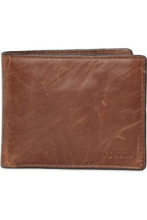 Fossil Men Brown Solid Two Fold Leather Wallet