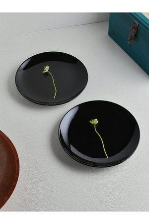 Ariane Black Solid 2-Pieces Porcelain Plates Set