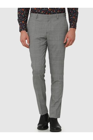 Selected Men White & Black Slim Fit Checked Formal Trousers