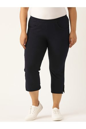Revolution Plus Size Women Navy Blue Regular Fit Solid 3/4th Trousers