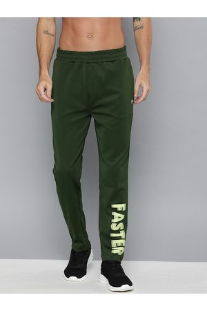 HRX Men Green Solid Slim fit Antimicrobial Rapid-Dry Running Track Pants