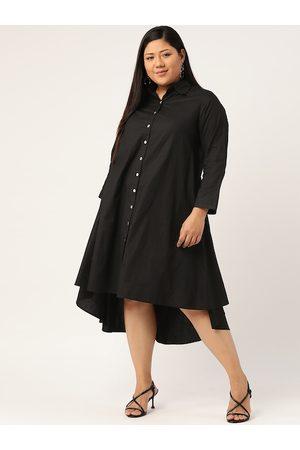 Revolution Women Black Plus Size Solid A-Line Dress