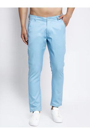 JAINISH Men Blue Slim Fit Solid Chinos