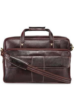 GENWAYNE Men Brown Solid Leather Laptop Bag