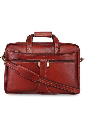 GENWAYNE Men Tan-Brown Solid Formal Office Laptop Messenger Bag