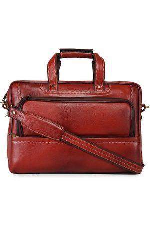 GENWAYNE Men Tan Solid Laptop Bag