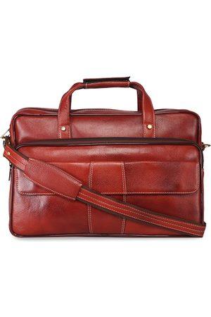 GENWAYNE Men Tan Brown Solid Leather Laptop Bag
