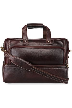 GENWAYNE Men Brown Solid Leather Laptop Bag