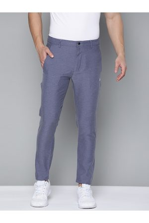 HRX Men Medieval Blue Solid Slim Fit Rapid-Dry Lifestyle Trousers