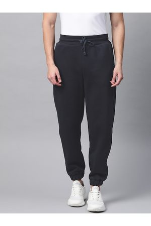Fitkin Men Navy Blue Solid Winter Joggers