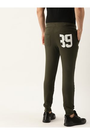 The Indian Garage Co Men Olive Green Solid Straight Fit Joggers With Printed Detailing