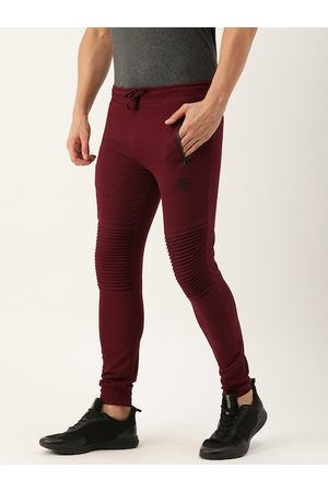 The Indian Garage Co Men Maroon Solid Straight Fit Joggers