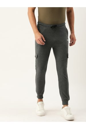 The Indian Garage Co Men Charcoal Grey Solid Straight Fit Joggers