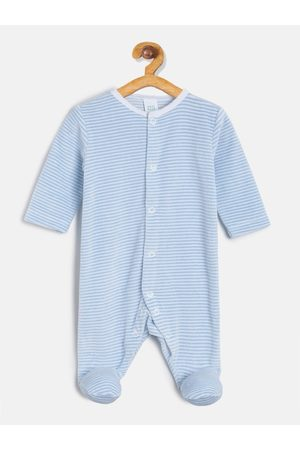 MINI KLUB Infant Boys Blue & White Striped Sleepsuit